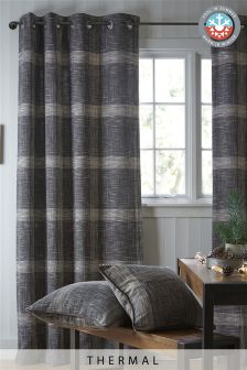 Thermal Astley Check Eyelet Curtains