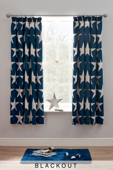 Stars Blackout Pencil Pleat Curtains
