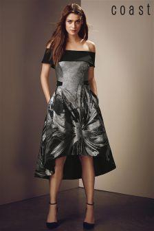 Coast Black Echo Jacquard Full Midi Dress