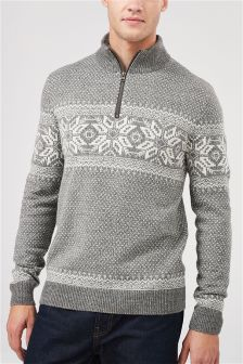 Fairisle Pattern Zip Neck