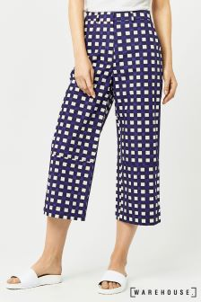 Warehouse Navy/White Cropped Gingham Trouser