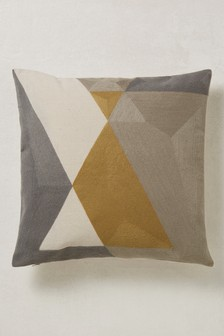 Crewel Work Geo Cushion