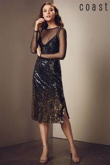 Coast Metallic Gisella Ombre Sequin Dress