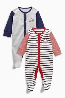 Badge Sleepsuits Two Pack (0mths-2yrs)