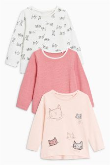 Long Sleeve Cat T-Shirts Three Pack (3mths-6yrs)