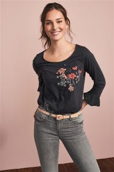 Embroidered Ruffle Sleeve Top