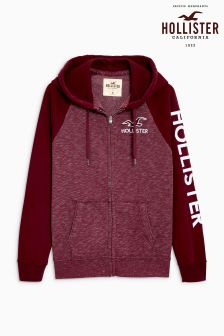 Hollister Burgundy Logo Zip Through Hoody