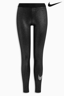 Nike Black And Silver Pro Tight