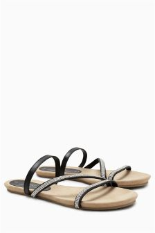 Asymmetric Diamanté Sandals