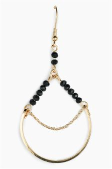 Chain And Bead Drop Earrings