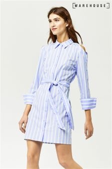 Warehouse Blue Stripe Button Sleeve Shirt Dress