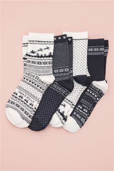 Fairisle Pattern Ankle Socks Four Pack