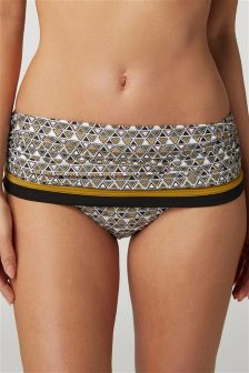 Geo Roll Top Bikini Briefs