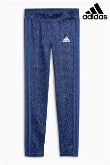 adidas Black/Blue 3 Stripe Legging
