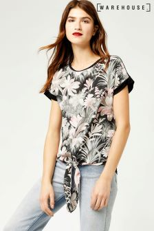 Warehouse Black Amazon Placement Woven Front Top
