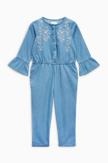 Chambray Embellished Playsuit (3mths-6yrs)