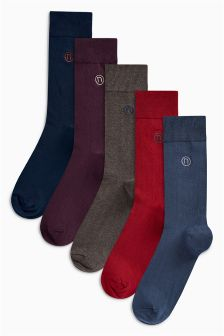 Colour N Embroidered Socks Five Pack