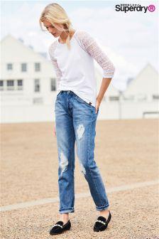 Biała, haftowana bluzka Superdry z długim rękawem