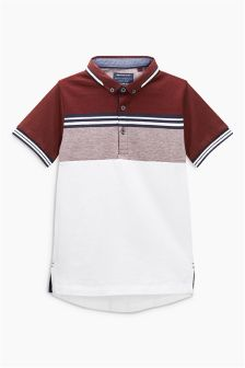 色块图案保罗衫 (3-16岁)
