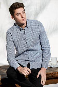 Long Sleeve Double Collar Print Shirt