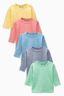 Textured Ready Set Go Long Sleeve Top Five Pack (3mths-6yrs)
