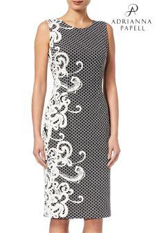 Жаккардовое платье облегающего кроя черного цвета/цвета слоновой кости без рукавов Adrianna Papell