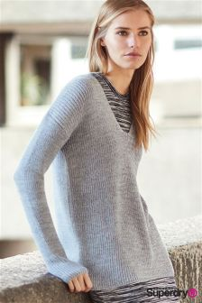 Superdry Grey Ice Almeta V-Neck Knit