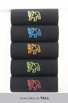 Bulldog Embroidered Socks Five Pack