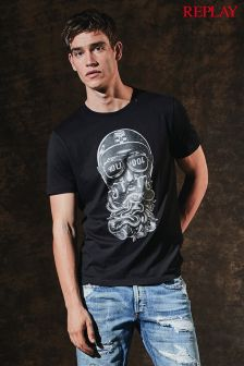 Replay® Black Biker T-Shirt