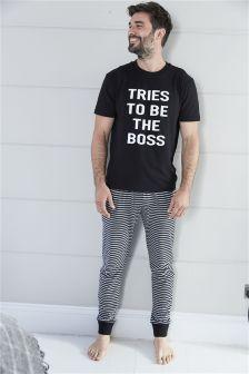 Boss Print Long Set (Mens)