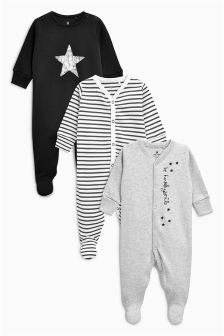 Star Sleepsuits Three Pack (0mths-2yrs)