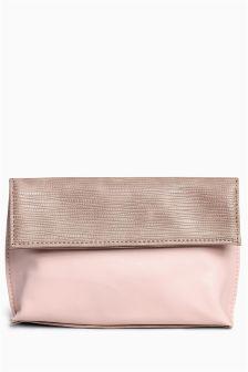Nude Foldover Cosmetic Bag