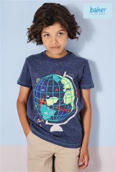 Baker By Ted Baker Navy Globe Graphic Tee