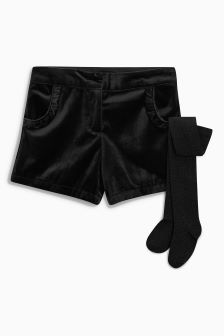 Velvet Shorts With Tights (3-16yrs)