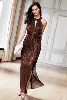 Metallic Plissé Maxi Dress