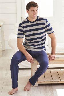 Wide Stripe Jersey Long Set