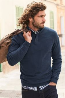 Textured Button Zip Neck