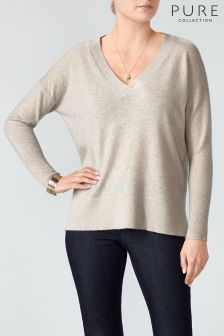 Pure Collection Marble Relaxed V-Neck Cashmere Sweater