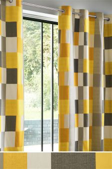 Ochre Colourblock Eyelet Curtains Studio Collection By Next