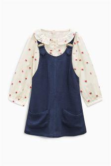 花朵印花衬衫和海军蓝背带裙套装 (3个月-6岁)