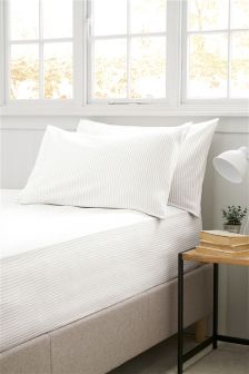 Brushed Cotton Natural Stripe Fitted Sheet Set