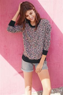 Floral Printed Sweat Top
