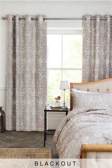 Scroll Floral Blackout Lined Eyelet Curtains