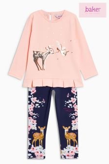 Baker By Ted Baker Pink Sequin Top And Printed Legging Set