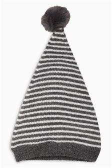 Stripe Pom Hat (0mths-2yrs)