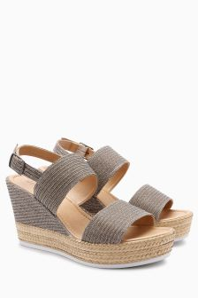 Two Band Slingback Wedges