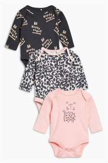 Leopard Long Sleeve Bodysuits Three Pack (0mths-2yrs)