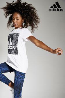 adidas White Leopard Print Tee