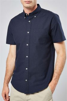 Оксфордская рубашка в горошек с короткими рукавами
