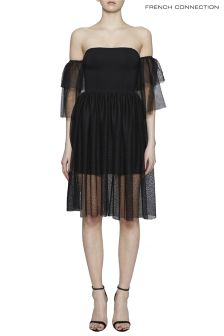 French Connection Black Sheer Jersey Off Shoulder Midi Dress